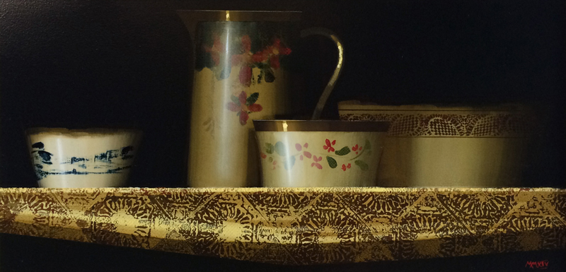 Martin Mooney still life on gold patterned cloth