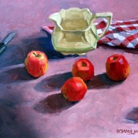 Four red apples, morning